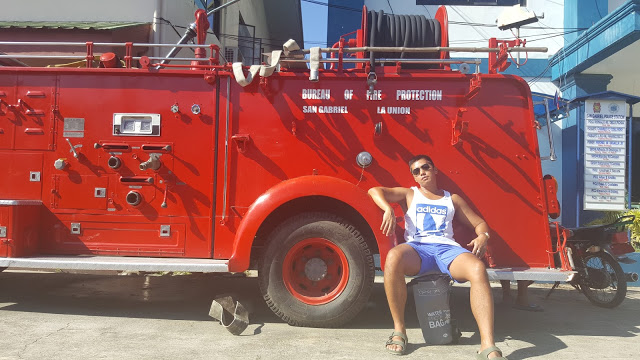 resting on a fire truck