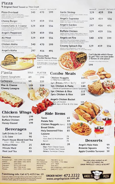 ANGEL'S PIZZA DELIVERY MENU